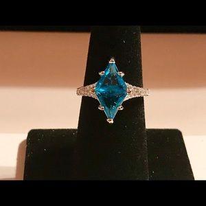 Marquise Cut Aquamarine 925 Silver Ring Size 7